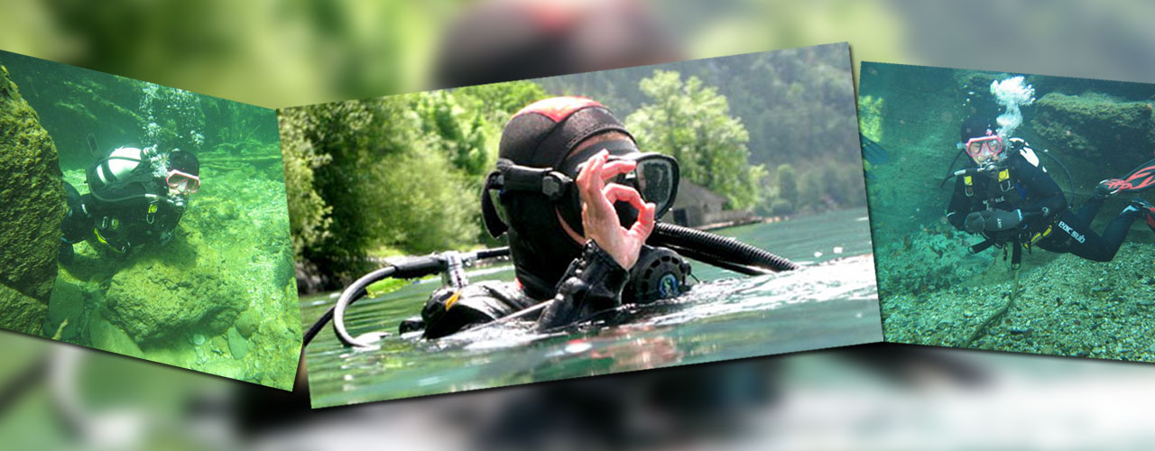 Diving in Lake Attersee/Austria