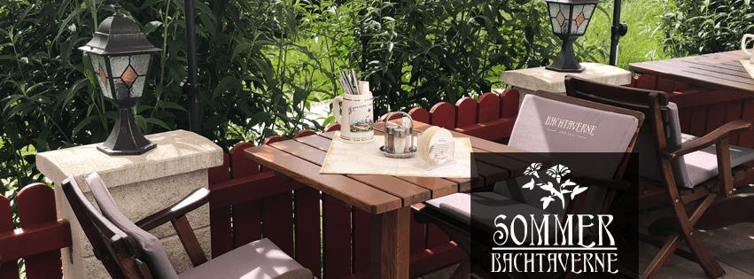 Der Gastgarten des Restaurant Bachtaverne im Juni 2019